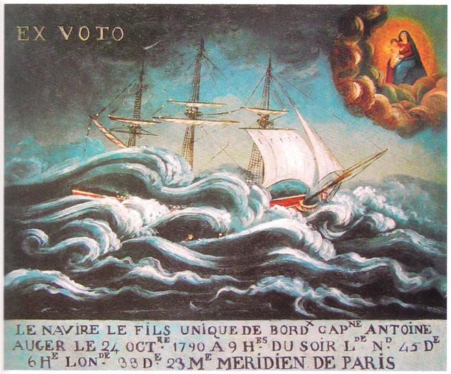 Un exvoto muestra una aparición divina durante un temporal.