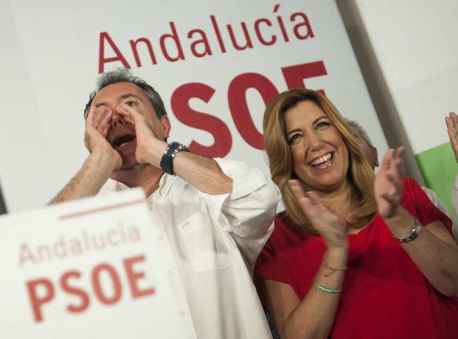 Juan Espadas y Susana Díaz, tras valorar los resultados en...