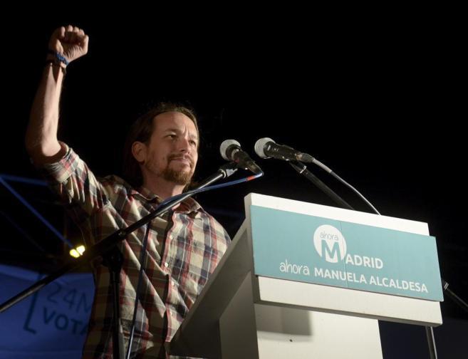 Pablo Iglesias anoche tras conocer los resultados electorales de...