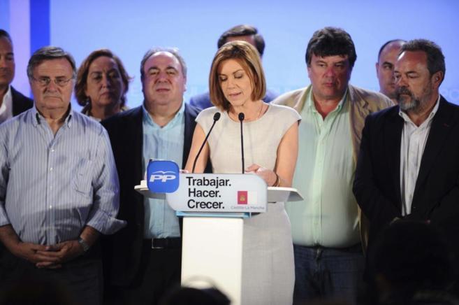 María Dolores de Cospedal durante su comparecencia en Toledo tras...