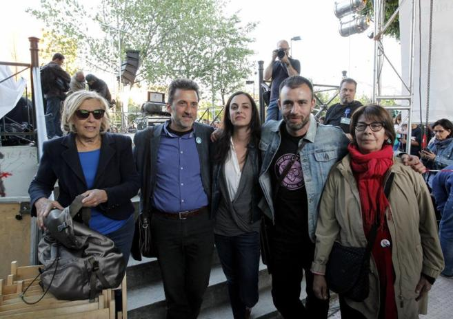 De izq. a dcha, Manuela Carmena, Mauricio Valiente, Rita Maestre,...