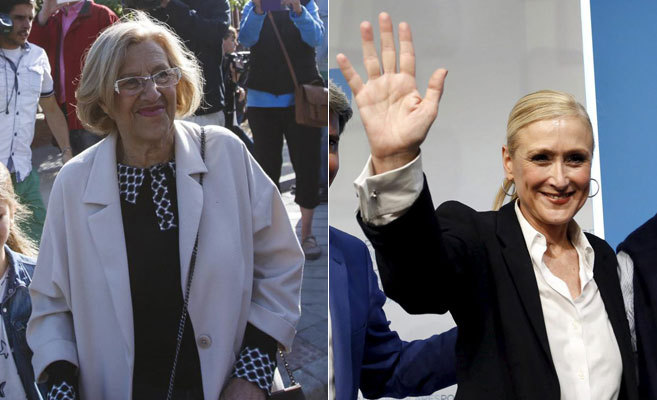 Manuela Carmena y Cristina Cifuentes, en dos momentos de la campaña.