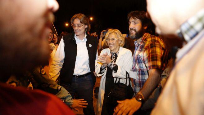 Manuela Carmena, anoche en la celebración de Ahora Madrid en la...