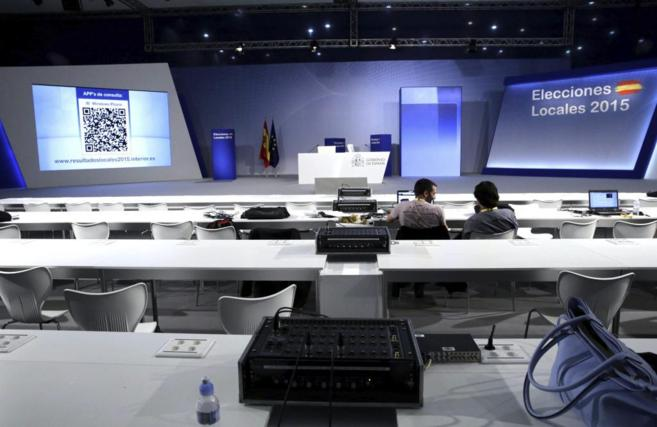 Centro de datos instalado para los medios de comunicación en la noche...