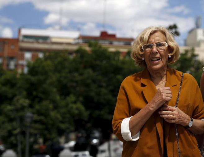 Manuela Carmena, la líder de Ahora Madrid, ayer en el parque de la...