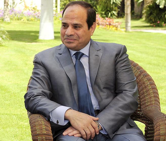 Abdelfatah Al-Sisi, durante su reciente entrevista con EL MUNDO, en El...