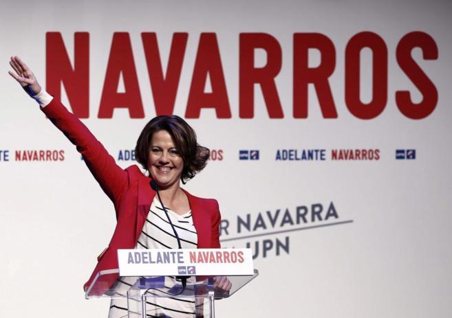 Yolanda Barcina, en un acto de la campaña electoral.