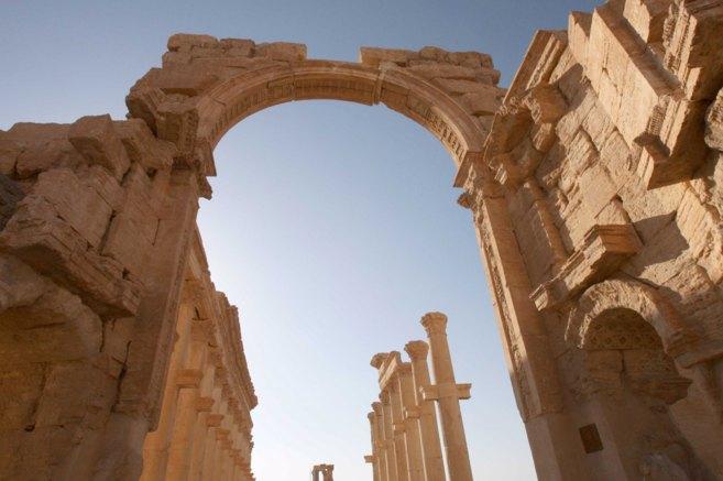 Ruinas romanas de la ciudad monumental de Palmira, en Siria,...