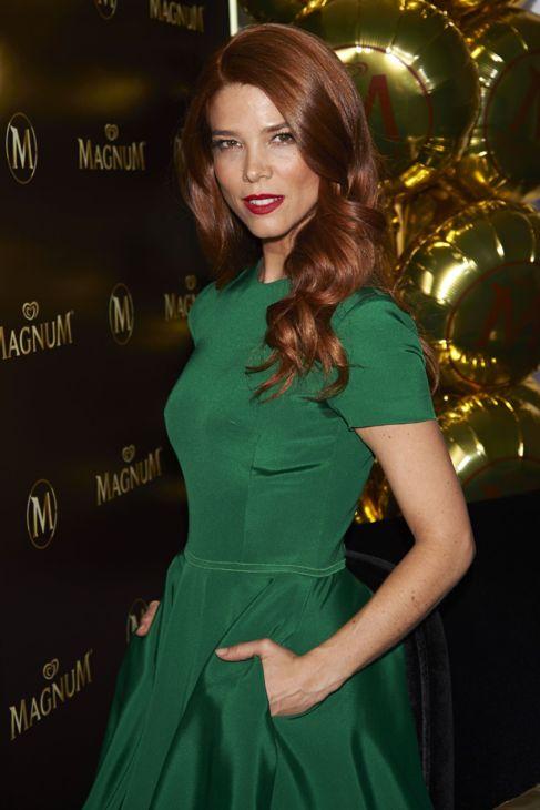 La actriz Juana Acosta, vestida de Lorenzo Caprile, en el acto de...