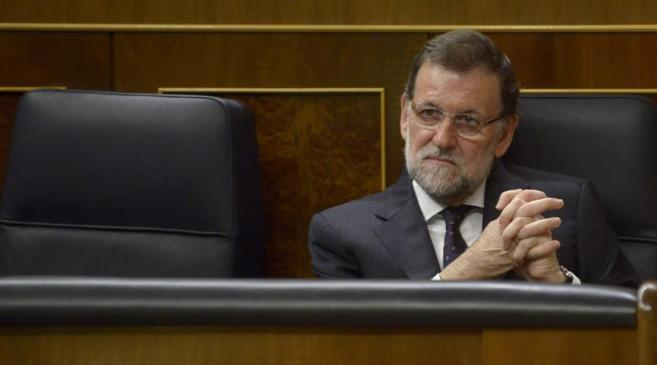 El presidente del Gobierno Mariano Rajoy en el pleno del Congreso de...