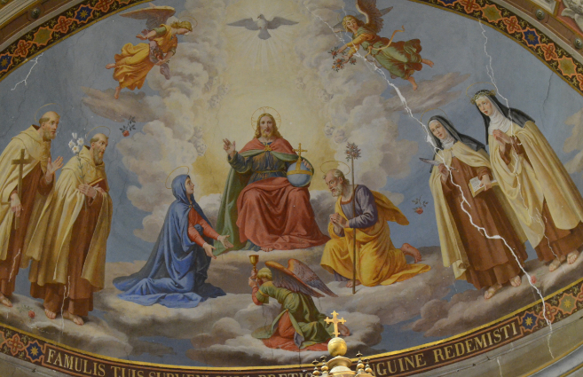 Santa Teresa (segunda figura por la derecha), en un fresco del ábside...