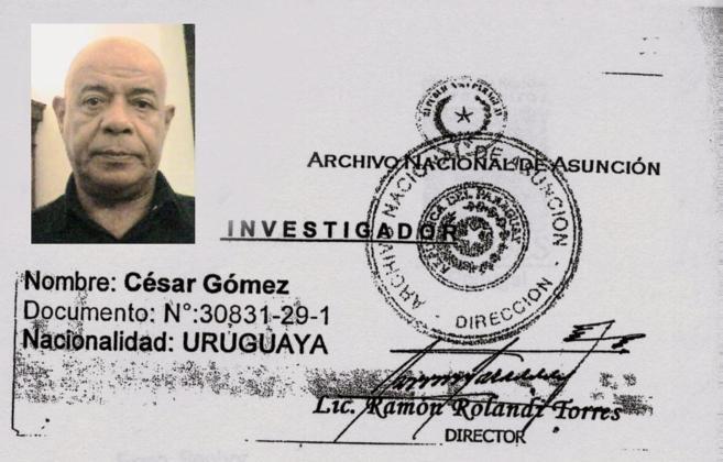 Uno de los documentos que César Olivio Gómez utilizaba para acceder...