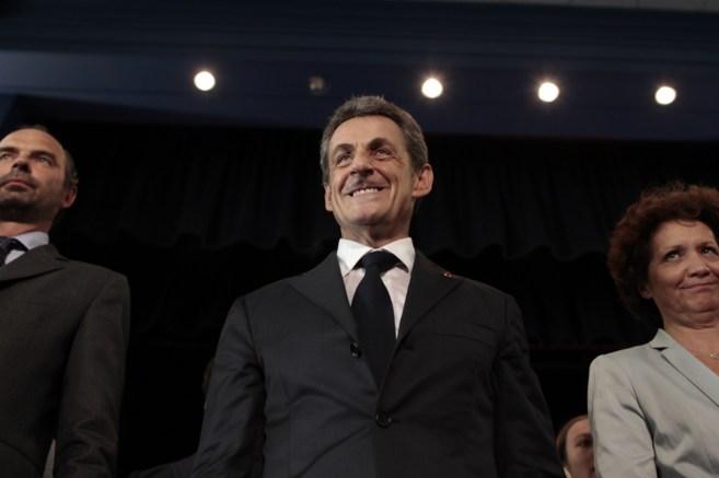 Nicolas Sarkozy durante una reunión de su partido celebrada en Le...