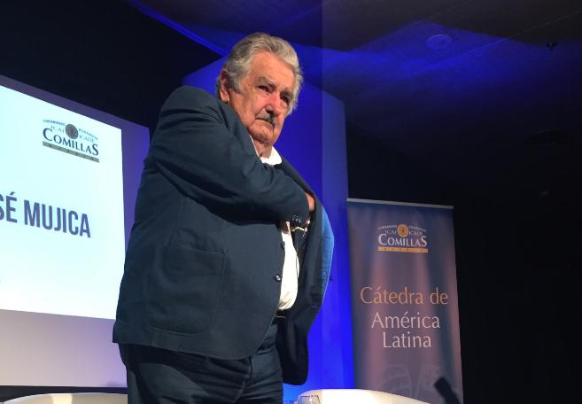 José Mujica, durante su conferencia en la Csa de América en Madrid.