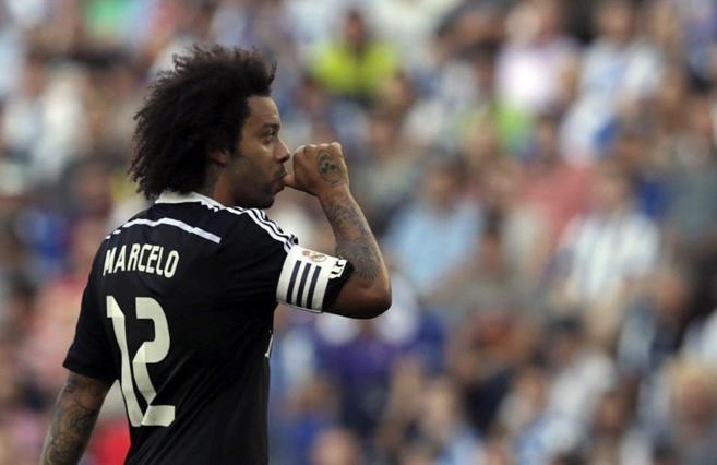 Marcelo celebra un gol al Espanyol en Cornellà en la penúltima...