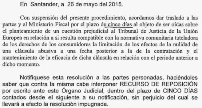 Extracto del documento emitido por la Audiencia Provincial del...