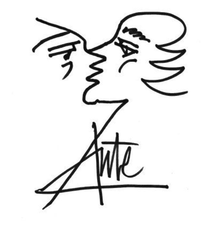 Dibujo y autógrafo de Aute. EL MAQUINISTA DE LA GENERACIÓN