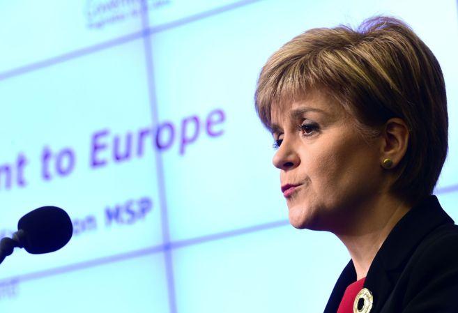 La ministra escocesa Nicola Sturgeon habla en el Centro de Política...
