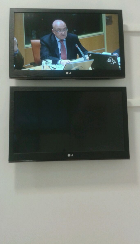 Patxi Baztarrika, en una de las pantallas del Parlamento durante su...