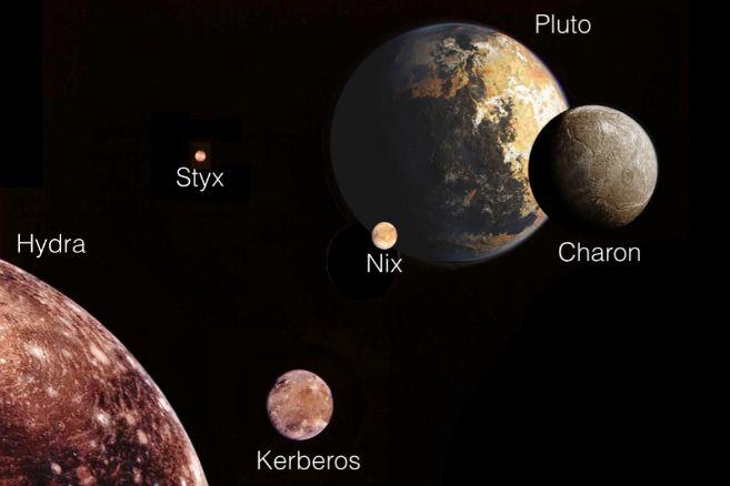 Ilustración de Plutón y sus cinco lunas.