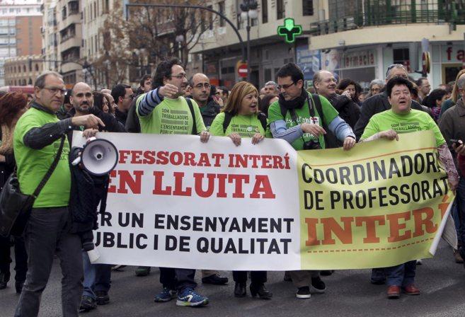 Protesta de profesores interinos en Valencia.