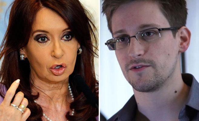 La mandataria argentina Cristina Kirchner y el ex analista de la NSA,...