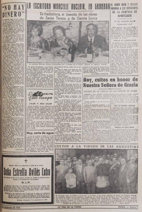 La prensa granadina cuenta la visita el 7 de septiembre de 1962.