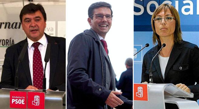 Los candidatos del PSOE Gabriel Cruz (Huelva), Francisco Cuenca...