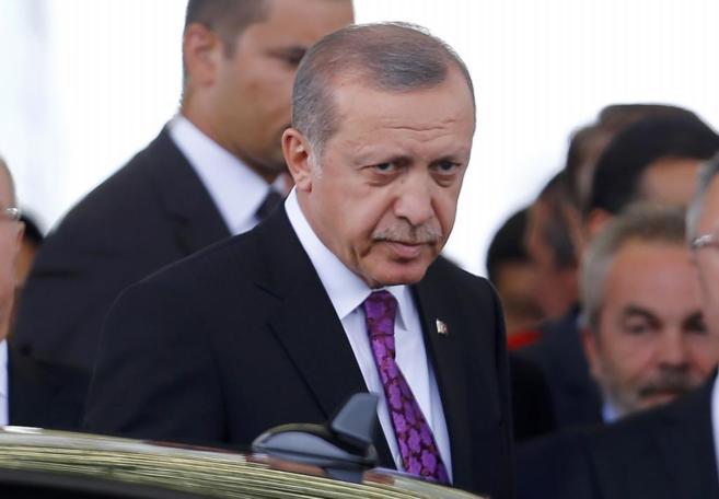 El presidente turco Tayyip Erdogan a su llegada hoy a Ankara...