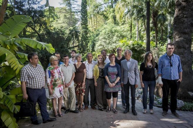 Los representantes de PSPV, Compromís y Podemos en el Jardín...
