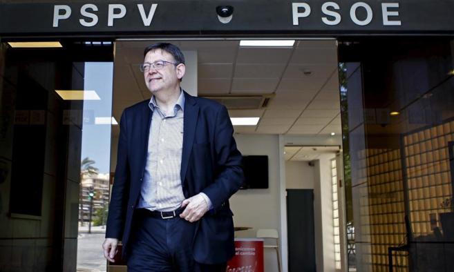 Ximo Puig abandona la sede del PSPV tras la rueda de prensa de su...