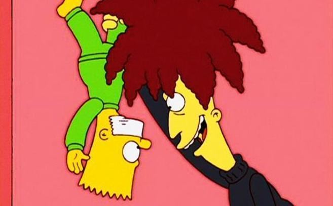 El actor secundario Bob intentando matar a Bart.