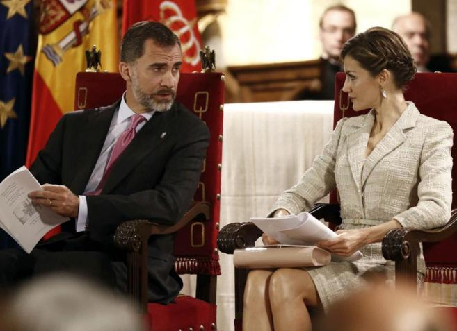 Los Reyes Felipe VI y Doña Letizia hoy, en el MOnasterio de San...