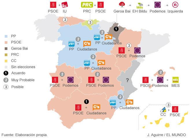 Mapa de los posibles pactos electorales en cada comunidad