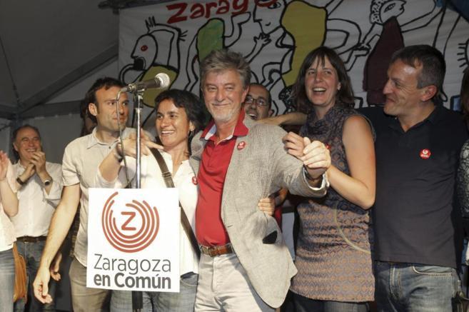 Pedro Santisteve en la noche electoral, en Zaragoza.