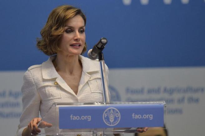 La Reina durante su intervención en la FAO.