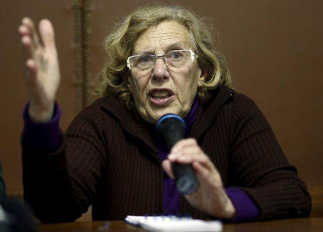 Manuela Carmena durante una intervención en Vallecas