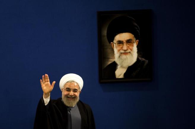 El presidente del gobierno de Irán, Hasan Rohani, durante una rueda...