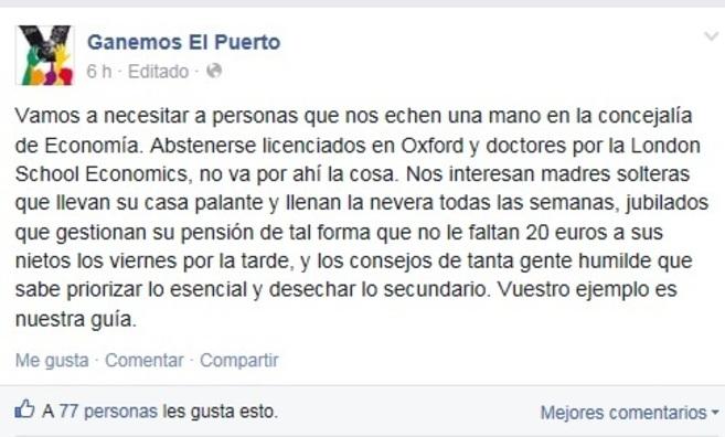 Comentario de Ganemos El Puerto en su muro de Facebook.