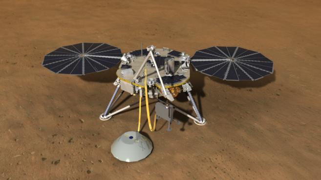 Recreación artística de la misión InSight en Marte.