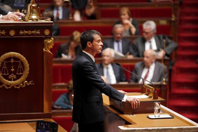 El primer ministro francés, Manuel Valls, durante su discurso en la...