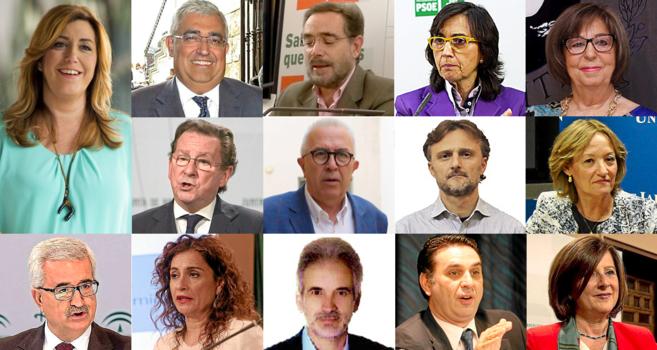 De izquierda a derecha y de arriba a abajo, Susana Díaz, Antonio...
