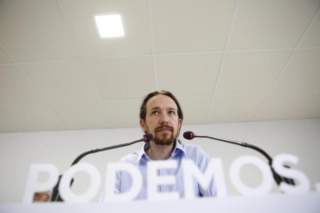Pablo Iglesias este miércoles en la sede del partido.