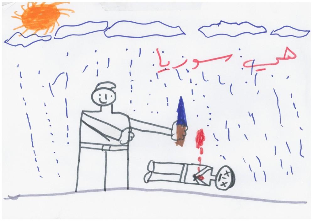 Un niño sirio dibuja un hombre matando a otro, mientras llueve, en su...