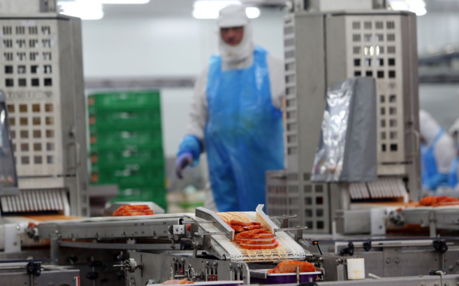 Un empleado de Procavi, durante el envasado de la carne de pavo en la...