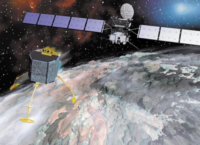 Recreación por ordenador de Rosetta aproximándose al cometa.