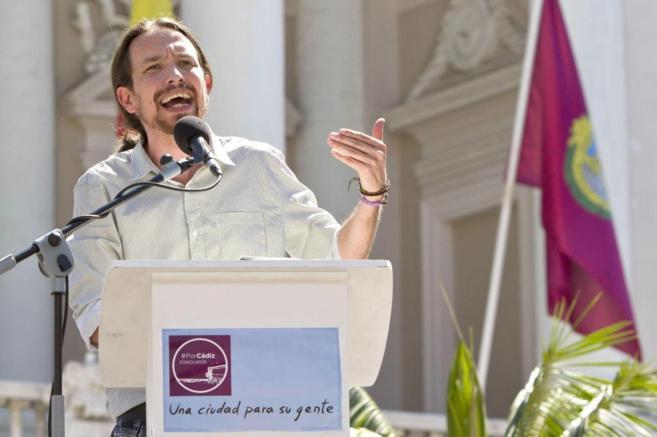 Pablo Iglesias el pasado viernes en un acto de Podemos en Cádiz.
