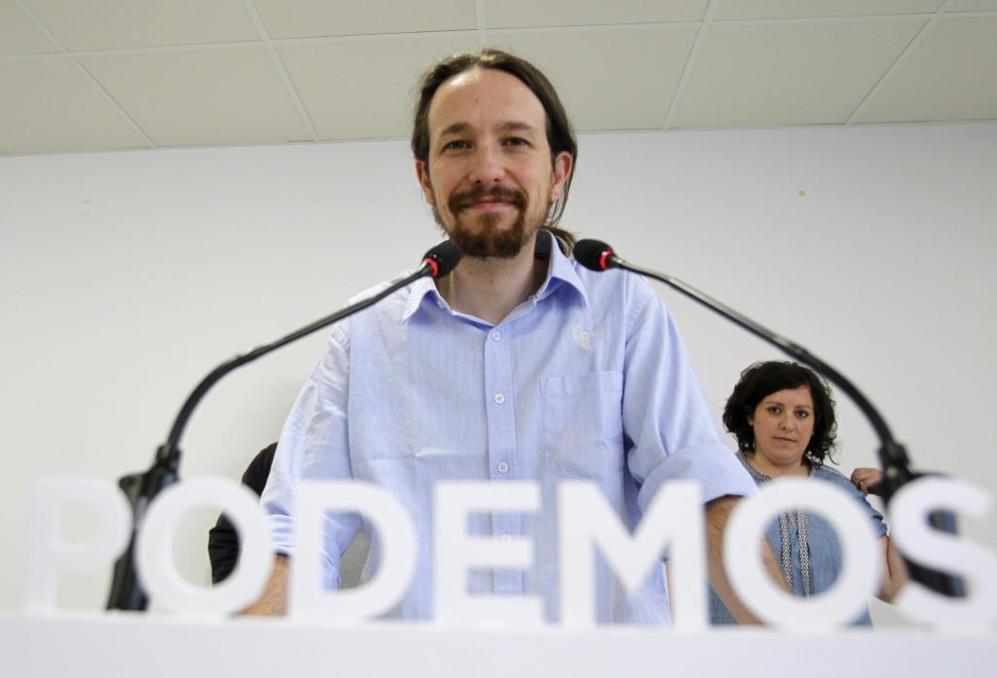 Rueda de prensa del secretario general de Podemos, Pablo Iglesias,...