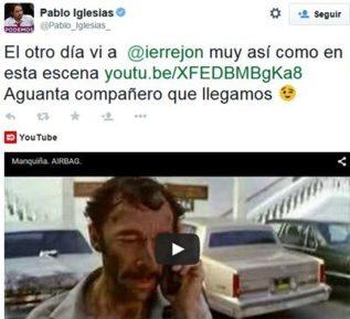 Captura del tuit de Pablo Iglesias sobre Íñigo Errejón.