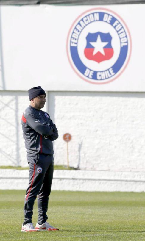 Sampaoli, en un entrenamiento de la selección de Chile.